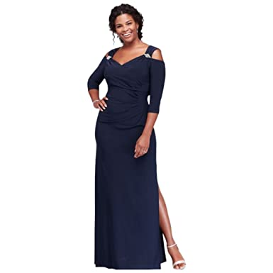 06e72299eca Cold Shoulder Plus Size Mother of Bride Groom Gown with Crystal Accents  Style 8950DW at Amazon Women s Clothing store