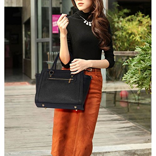 Chic Quality PU Tote Women Holiday Black White Shoulder Handbags Bag 255 For Women's LeahWard Leather Work School xItn5YATT