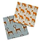 Milkbarn Organic Burp Cloths, 2 Pack (Blue Buck and Orange Fox)