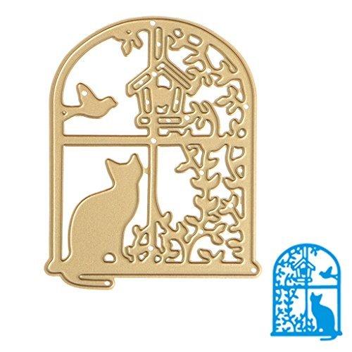 YDZN Window Cat Cutting Dies Stencils DIY Scrapbook Album Embossing Card Paper Craft