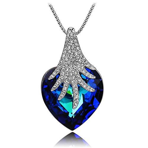 Rhapsody Crystal Pendant - St.Ushine Classic Earth Forest Ocean Love Heart Crystal CZ Pendant Necklaces for Women Fashion Jewelry (Ocean Heart Necklaces - Forest Rhapsody)