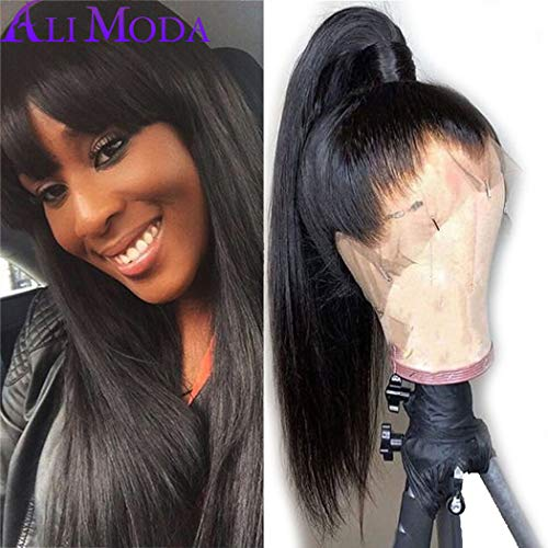 Silky Straight Lace Wig - Ali Moda Malaysian Pre Plucked Silky Straight 360 Lace Front Wig 130% Density With Baby Hair Bleached Knots Cap Wig Human Virgin Hair Nature Hairline 24 inch