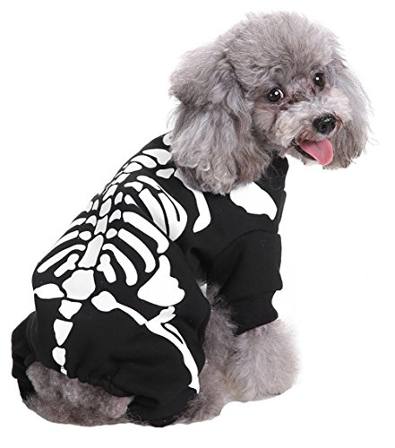 Pet Halloween Costume,Winter Warm Legs Out Cute Outfit,Dress Up Party Fancy Pullover for Small Dogs & Cats ( Skeleton, S)