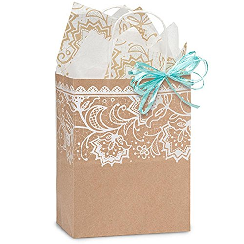 Lace Borders Paper Shopping Bags - Cub Size - 8 x 4 3/4 x 10 1/2in. - 250 Pack by NW