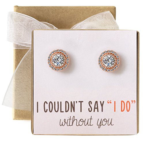 Bridesmaid Earrings Studs- 10 MM Cubic Zirconia in Silver, Gold or Rose Gold ()