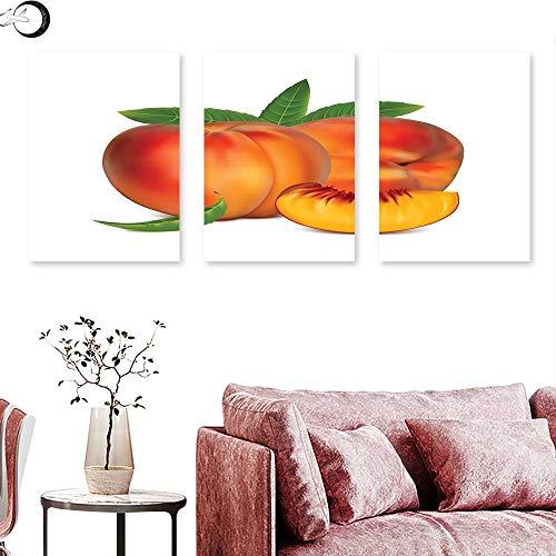 "J Chief Sky Peach Wall Decoration Vivid Juicy Fruit for Vegetarian Diet Slice of a Healthy Vitamin Rich Snack Triptych Art Set Vermilion Green Triptych Art Canvas W 20"" x L 40"" x3pcs"