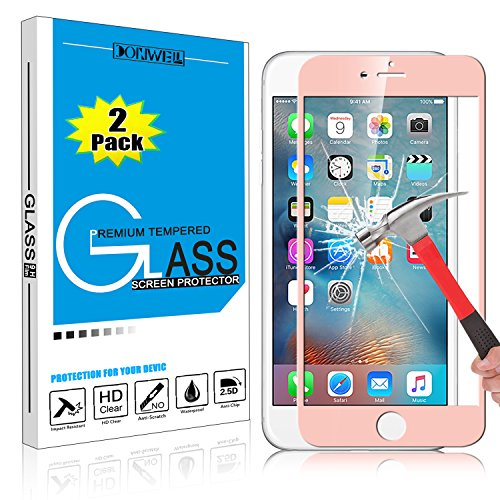 [2 PACK ROSE GOLD] iPhone 6 6s Plus Screen Protector, DONWELL Full Cover Mirror Effect Tempered Glass Screen Protector for iPhone 6 6s Plus [HD Clear] [ Scratch-Resistant] [Bubble Free] ()