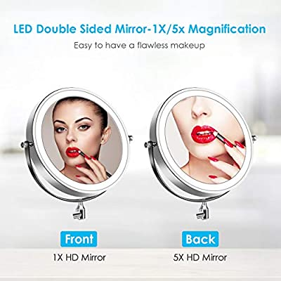 """alvorog 7"""" Wall Mounted Makeup Mirror LED Lighted Two Sided 360° Swivel Extendable Cosmetic Vanity Mirror 5X Magnification for Bathroom, Powered by 4 x AAA Batteries (Not Included)"""