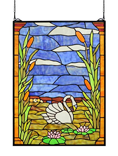 Happy Living Time Rural Vintage Tiffany Style Stained Church Art Glass Decorative White Swan Floral Rectangle Window Hanging Glass Panel Suncatcher 18