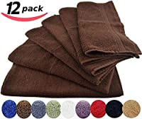 Utopia Towels Luxury Cotton Washcloth Towels Set (12 Pack, Dark Brown, 12x12 Inches) Multi-purpose Extra Soft Fingertip towels, Highly Absorbent Face Cloths, Machine Washable Sport, and Workout Towels