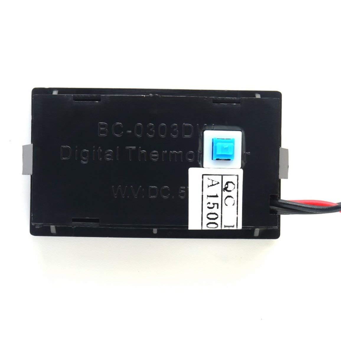 Term/ómetro digital LCD Medidor LCD Detector Medidor PC Car Mod C//F Montaje en panel Molex con pantalla de retroiluminaci/ón azul Color: como muestra la imagen