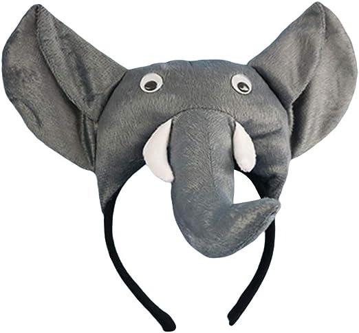 Amosfun Elefante de Felpa Diadema Kids Animal Cosplay Headwear ...