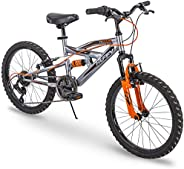 """Huffy Valcon 20"""" Mountain Bike for Boys - 6 Speed - Dual Suspension - Silver &am"""