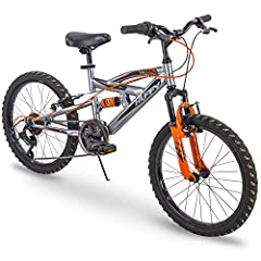 Only from Huffy, and only at ! The Huffy Valcon has 6 speeds and an aggressive design that looks fierce in charcoal gray and vibrant orange. Ideal for ages 5-9 and a rider height of 44-56 inches; the Valcon has full suspension to handle uneve...