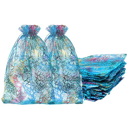 50 Pack 8×12 Inches Organza Gift Bags Blue Coralline Style for Toys Candy Chocolate Party Christmas Wedding Favor Gift