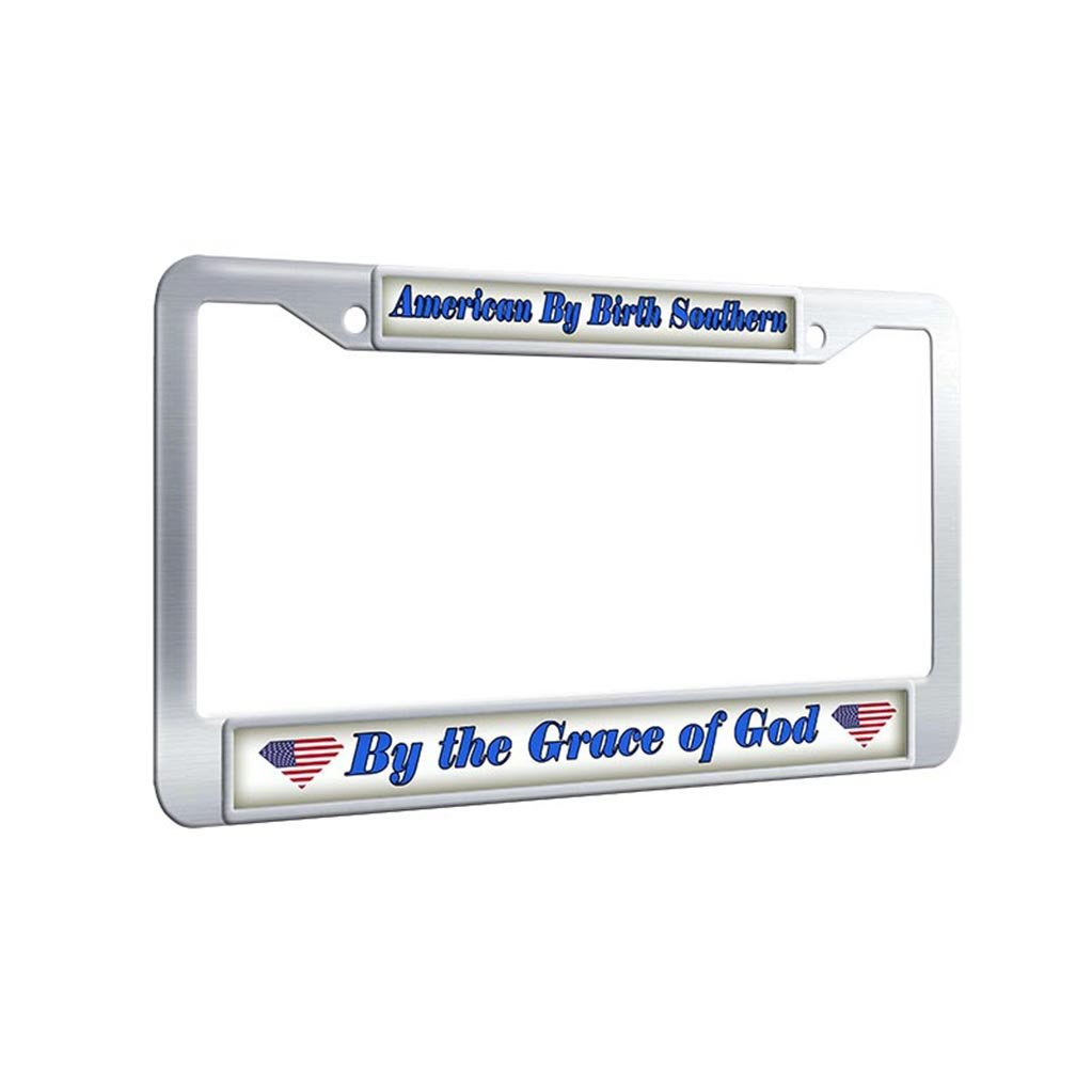 Framepro old license plate frameamerican by birth southern by the grace of god design license plate covers stainless steel unbreakable car tag frame with 2