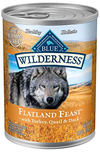 Blue Buffalo Wilderness Flatland Feast High Protein Grain Free, Natural Wet Dog Food, Wild Turkey, Quail & Duck 12.5-oz can (pack of 12)
