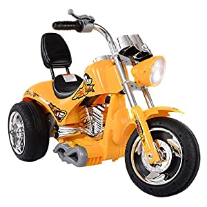 Yellow Kids Ride On Car 12V Motorcycle 3 Wheels Battery Powered Electric Bicycle Toy