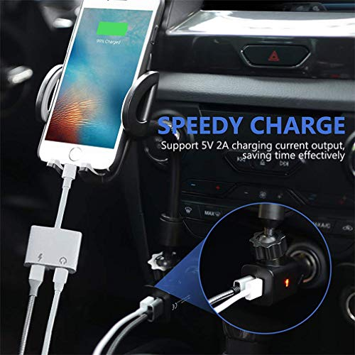 Headphone Adapter for iPhone 3 5mm Aux Charging Cable Connector for iPhone  8/8Plus/XR/X/XS/XS max 2 in 1 Earphone Audio Cables Charger Headphone AUX