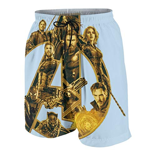 Mens Beach Shorts, The Avengers 4 (6) Quick Dry Swim Trunks, Summer Board Shorts with Pockets for Teenager Boys White