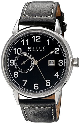 August-Steiner-Mens-AS8182SSB-Silver-Multifunction-Quartz-Watch-with-Black-Dial-and-Black-with-White-Stitching-Leather-Strap