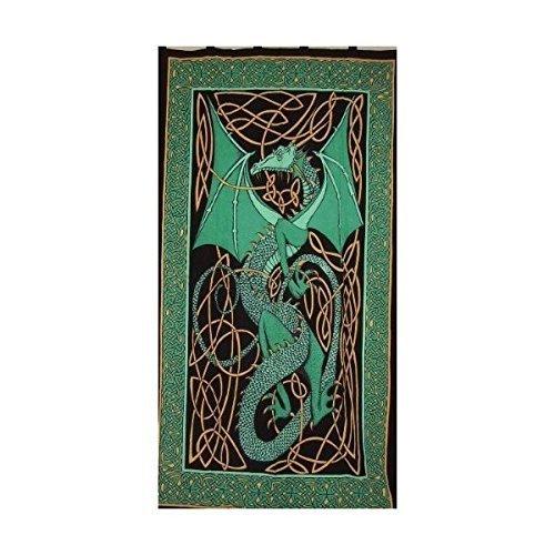 Celtic Dragon Tab Top Curtain-Drape-Door Panel-Green ()