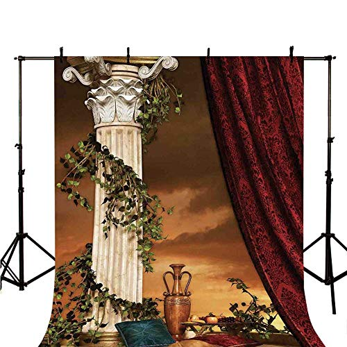 Gothic Stylish Backdrop,Greek Style Scene Climber Pillow Fruits Vine and Red Curtain Ancient Figure Sunset Decorative for Photography,70.8