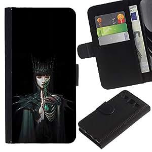 Billetera de Cuero Caso del tirón Titular de la tarjeta Carcasa Funda del zurriago para Samsung Galaxy S3 III I9300 / Business Style Woman Black Dark Fairytale