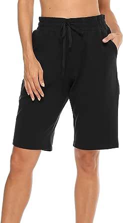 MOCOLY Women's Cotton Bermuda Shorts Straight Leg Half Length Yoga Pants Activewear Workout Sweat Running Shorts