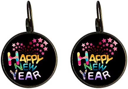 GiftJewelryShop Bronze Retro Style Happy New Year Photo Dangle Leverback Earrings 10mm Diameter