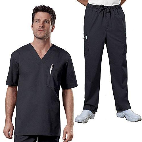 Cherokee Core Stretch Workwear Men's V-Neck Top & Utility Pant Scrub Set Medium Pewter