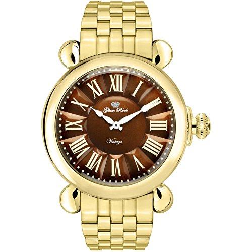 Glam Rock Women's Vintage 40mm Gold Plated Bracelet & Case Swiss Quartz Brown Dial Analog Watch GR28042-BR