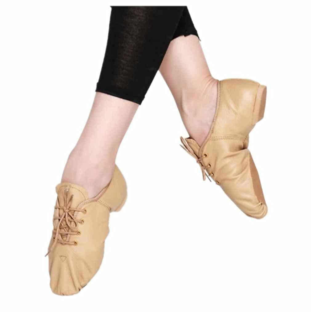 Kids Jazz Ballet Dance Genuine Leather Split Sole Lace Up