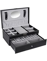 Black Jewelry Box 6 Watch Organizer Storage Case with Lock and Mirror UJWB11B