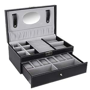 SONGMICS Black Jewelry Box 6 Watch Organizer Storage Case with Lock and Mirror UJWB11B