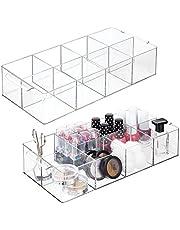 mDesign - Make-up organizer - cosmetica-organizer - voor nagellak, lippenstift en meer - voor op de kaptafel of ladekast - met 8 compartimenten/praktisch