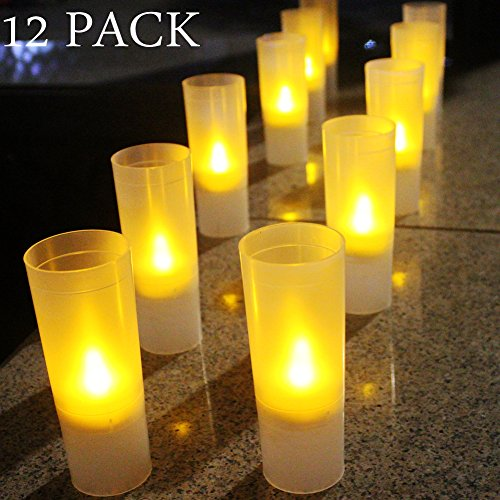LED Tealight Candles,Pillar Candle Holder, Battery Tealight Candles with Frosted Plastic Votive Holders for Holiday,Party,Birthday,Wedding,Church,Bar, Garden Decor(12 Pack)