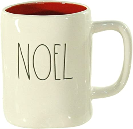 Amazon Com Rae Dunn Noel Christmas Mug With Red Interior Large Letter Coffee Cups Mugs