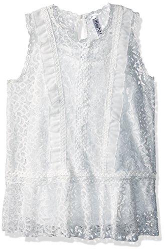 Beautees Girls' Big Sleeveless Victorian Top, White, Large -