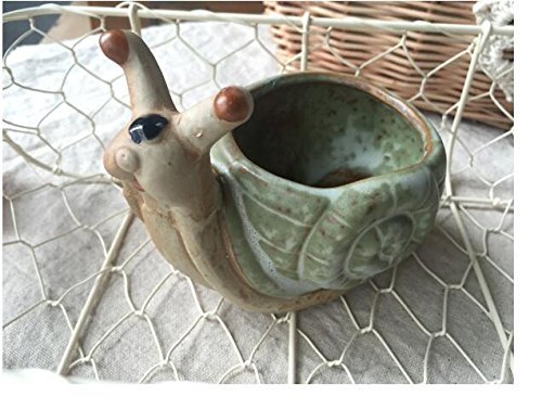 Youfui Ceramic Animal Flowerpot Succulent Plants Container Desk Mini Ornaments Green Snail