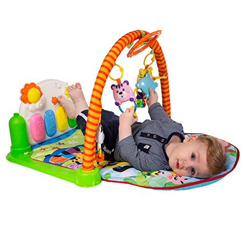 Tapiona Baby Play Gym Mat - Kick Play Piano Mat Infants - Activity Mat Boy Girl 0-36 Month - 2 Modes Kick Piano, Mirror, 4 Rattle Toys