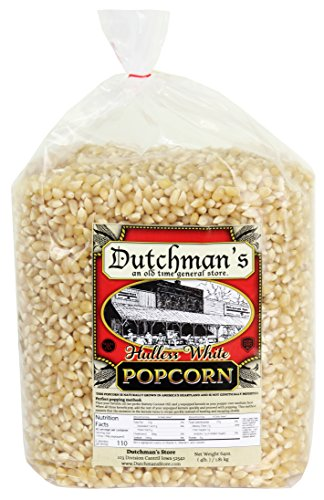 (Dutchman's Popcorn - Medium Hulless White Popcorn Kernels - 4 lb Refill Bag, Old Fashioned and Non GMO, Family Grown, Gluten Free, Microwaveable, Stovetop and Air Popper Friendly)