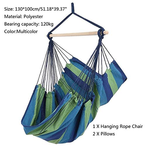 T-U-MARK Outdoor Garden Swing Chair Hammock Hanging Chair with 2 Pillows Adults Kids Hammock Hanging Chair Swing Bed 2019 New