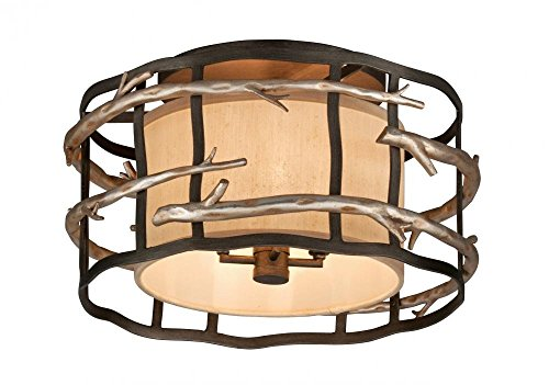 (Troy Lighting Adirondack 4-Light Flush Mount - Graphite And Silver Leaf Finish with Hardback Linen Shade)