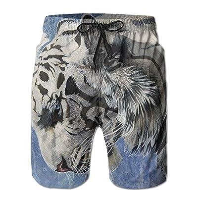 Hot Qpkia Abstract Art Black and White Wolf Men Casual Drawstring Beach BoardShorts Pants Pocket