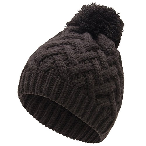 Isaac Mizrahi Black Beanie (Black V Cable Knit with Pom) Women Winter Hats with Pom Pom