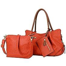 Special Discount-UTO Women Handbag Set 3 Pieces Bag PU Leather Tote Small Shoulder Purse Bags Wallet Strap