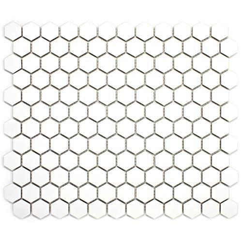 - White Tiny Hexagon Porcelain Penny Mosaic Tile (Matt) 11-3/4 in. x 10-1/4 in. x 6mm (1 Sheet=0.84 sqt) (1 Box (11 Sheets))