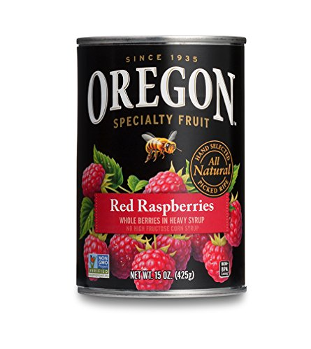 Oregon Fruit Red Raspberries in Syrup, 15-Ounce Cans (Pack of 8) ()