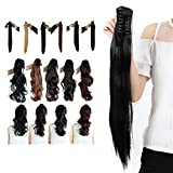 Synthetic Claw Ponytail Heat Resistant Handy Jaw Pony Tail One Piece Long Wavy Curly Soft Silky for Women Lady Girls 18'' / 18 inch (dark black)